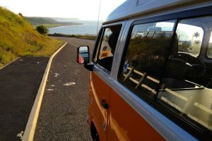 Orange VW T2 camper van